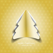 Greeting card with gold paper christmas tree — Stock Photo