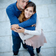 Royalty-Free Stock Photo: Young couple in love shot from above