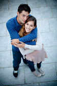 Young couple in love shot from above — Stock Photo