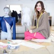 Fashion designer in her studio — Foto Stock