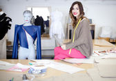 Fashion designer in her studio — Stock fotografie