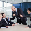 Business man threatning business partner, grabbing him by the ti — Stock Photo