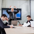 Angry and disappointed boss throwing documents during briefing — Stockfoto