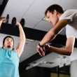 Gym buddies working out timing exercise — Stock Photo