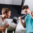 Stock Photo: Young mmotivating gym buddy during bicep exercise
