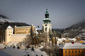 Old castle in winter Banska Stiavnica — Stock Photo