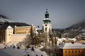 Old castle in winter Banska Stiavnica — Stock Photo