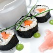 Sushi with vegetables and seaweed - Stock Photo