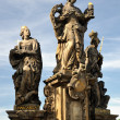 The statue of saints Barbara, Margaret and Elizabeth on Charles Bridge - Zdjęcie stockowe