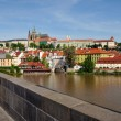 View of Prague, Charles bridge, Vltava river, St. Vitus cathedral — Stock Photo #18892121