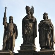 Statues of Wenceslaus IV and Sigismund, Holy Roman Emperors, with Saint Norbert — Stock Photo