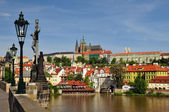 View of Prague castle and Charles Bridge — Stok fotoğraf