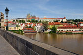 View of Prague, Charles bridge, Vltava river, St. Vitus cathedral — Stock Photo