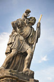 Statue of Child Christus at the shoulder of saint Christopher, Charles Bridge — Stock Photo
