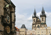 Orloj and Church of Mother of God before Tyn, Prague — Stock Photo