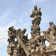 Charles Bridge statues in Prague. The Virgin with Saint Bernard - Stock Photo