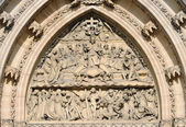 Detail door with Last Supper portal St. Peter and Paul on Vysehrad — ストック写真