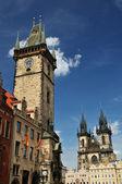 Orloj and Church of Mother of God before Tyn, Prague — Stock Photo