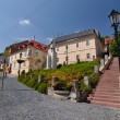 Banska Stiavnica, intersections at the statue Andrej Kmet — 图库照片