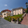 Banska Stiavnica, intersections at the statue Andrej Kmet - Stock Photo