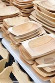 Calha de madeira da rua do mercado — Foto Stock