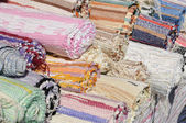 Woven colorful carpets on the market — Stock Photo