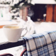 Cup of cappuccino and plaid — Stock Photo