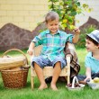 Toddler boys having fun in park — Stock Photo