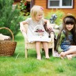 Little girls having fun in park — Stock Photo