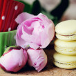 Still-life photo with cups, macaroons and peony — Stock Photo #24471109