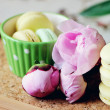 Still-life photo with cup, macaroons and peony — Stock Photo #24503765