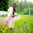 Little girl picking up summer flowers — Stock Photo