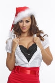 Red dressed sexy santa woman — Stock Photo