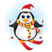 Christmas penguin skiing — Vector de stock