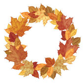 Wreath of autumn leaves of maple isolated on white — Stock Vector
