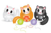 Three cute kittens on white background — Stock Vector