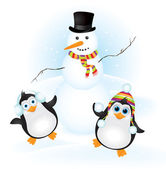Snowman with two penguins — Stock Vector