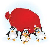 Pingüinos lindo con una bolsa de regalos — Vector de stock