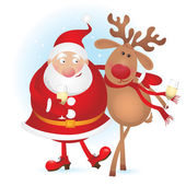 Santa and reindeer — Vector de stock