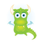 Cute green cartoon dragon — Vector de stock