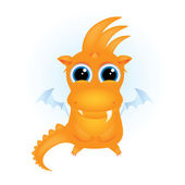 Cute orange cartoon dragon — Vector de stock