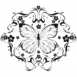 Decorative frame with flowers and butterflies in art nouveau  — Stock Vector