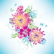Vector multicolored flowers graphic — Stock Vector