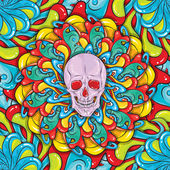 Skull psychedelic seamless pattern — Stock Vector