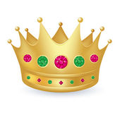 Gold crown with gems — Stock Vector
