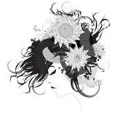 Dziewczyna z czarno-białe kwiaty — Wektor stockowy