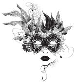 Abstract woman mask with flowers black and white — Vector de stock