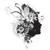 Abstract woman profile with flowers black and white — Vector de stock