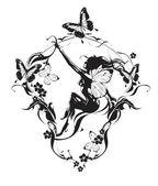 Dívka s květinami a motýli černá a bílá — Stock vektor