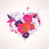 Květinové srdce abstraktní vektorová — Stock vektor